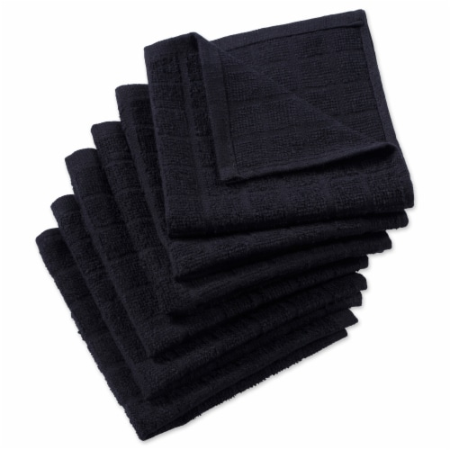 DII Solid Black Windowpane Terry Dishcloth (Set of 6) Perspective: front