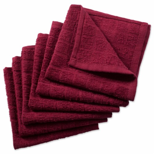DII Solid Wine Windowpane Terry Dishcloth (Set of 6) Perspective: front