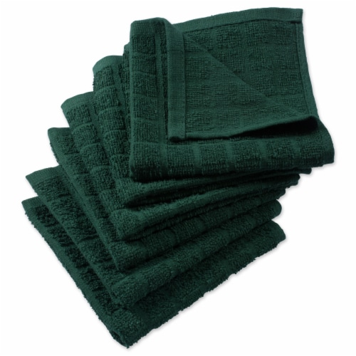 DII Solid Dark Green Windowpane Terry Dishcloth (Set of 6) Perspective: front