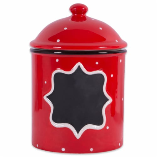 Design Imports Ceramic Red Canister Medium Perspective: front