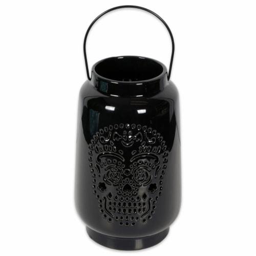 Design Imports CAMZ38032 Dia De Los Muertos Lantern, Black Perspective: front