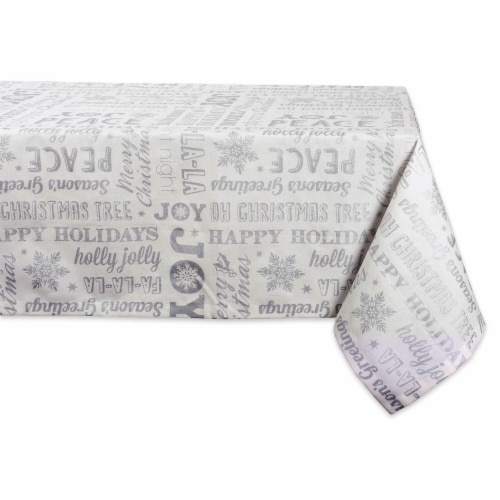 DII Silver Christmas Collage Tablecloth Perspective: front