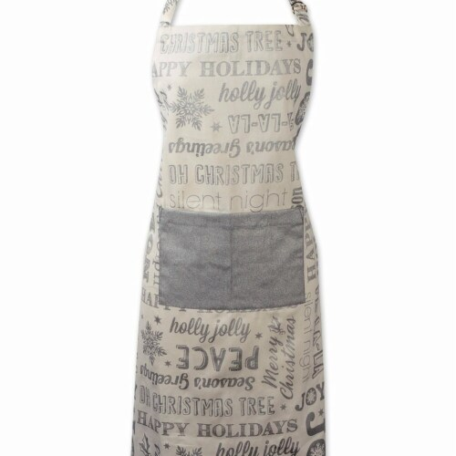 Design Imports Silver Christmas Collage Chef Apron Perspective: front