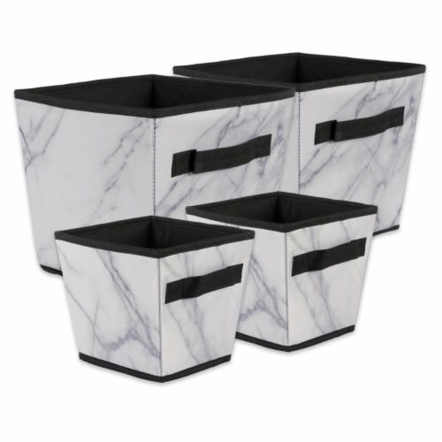 Design Imports CAMZ38243 Polyester Laundry Assorted Storage Bin, Marble White-Set of 4 Perspective: front