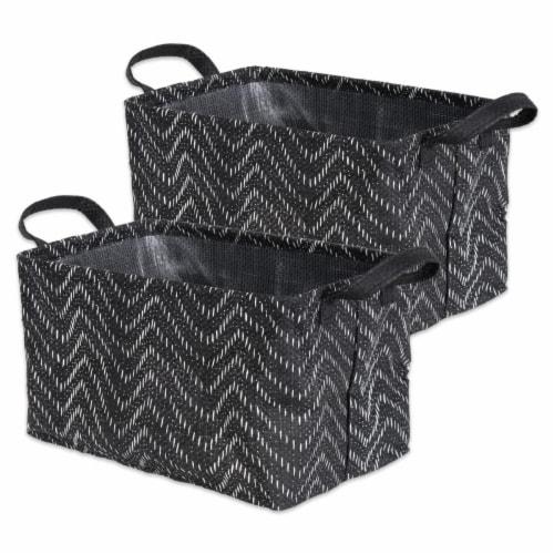 Woven Paper Laundry Bin Tribal Chevron Black/White  Rectangle Medium  (Set of 2) Perspective: front