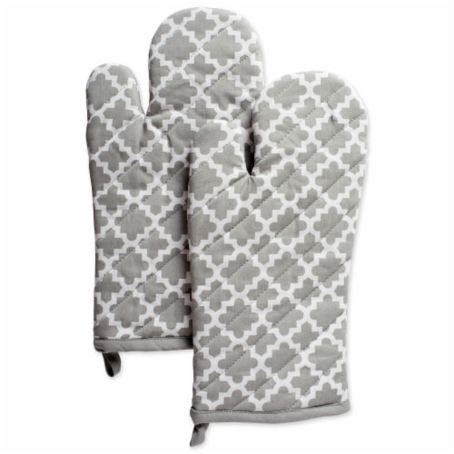 DII Gray Lattice Oven Mitt (Set of 2) Perspective: front
