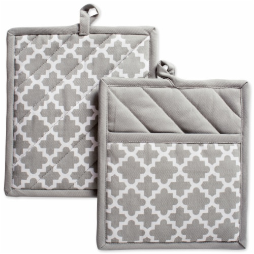 DII Gray Lattice Potholder (Set of 2) Perspective: front