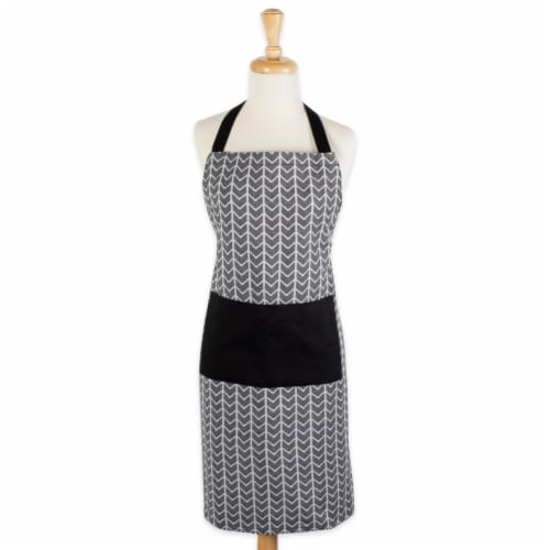 Design Imports CAMZ38559 Herringbone Chef Apron - Black & White Perspective: front