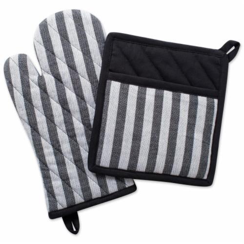 Design Imports Stripe Kitchen Set - Black & White Perspective: front