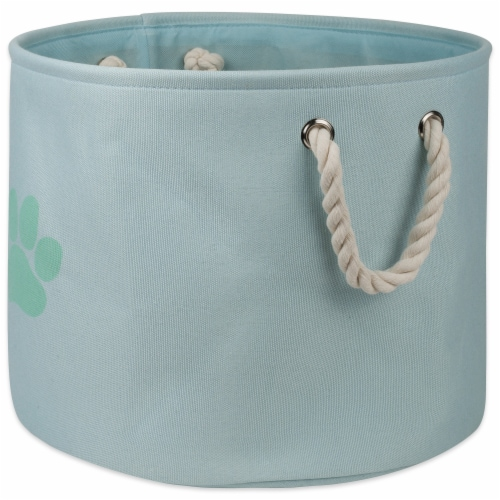 DII Polyester Pet Bin Paw Aqua Round Small Perspective: front