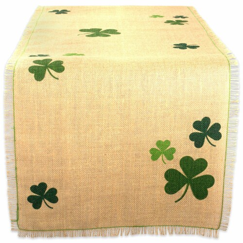 DII Shamrock Printed Jute Table Runner Perspective: front