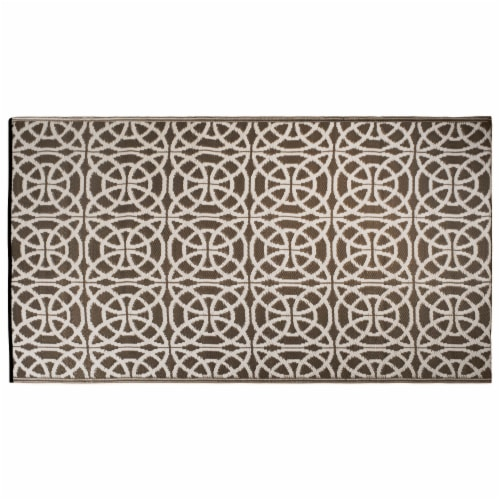 DII Dark Brown Infinity Circle Outdoor Rug Perspective: front