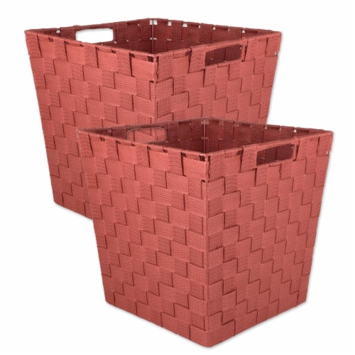Design Imports 38891 11 x 11 x 11 in. Trapezoid Nylon Storage Bin Basketweave, Rust-Set of 2 Perspective: front