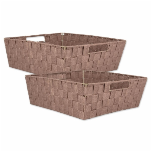 Design Imports CAMZ38900 13x15x5in Trapezoid Nylon Storage Bin Basketweave, Taupe-Set of 2 Perspective: front