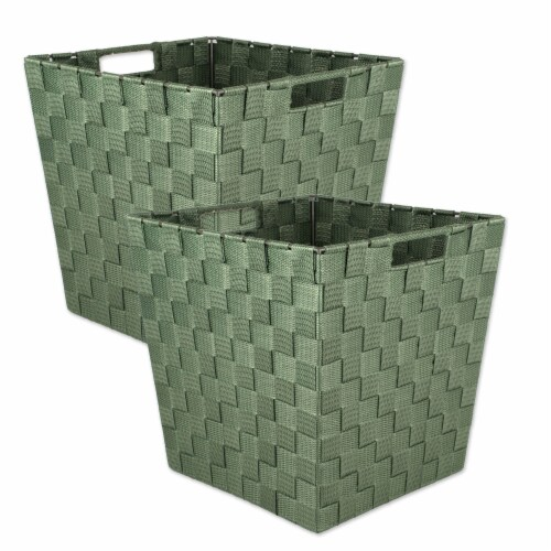Design Imports 38909 13 x 13 x 13 in. Trapezoid Nylon Storage Bin Basketweave, Olive-Set of 2 Perspective: front