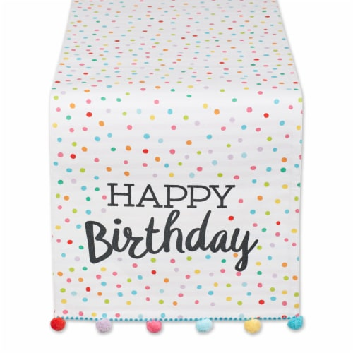 European Soaps Happy Birthday Embellished Table Runner Perspective: front
