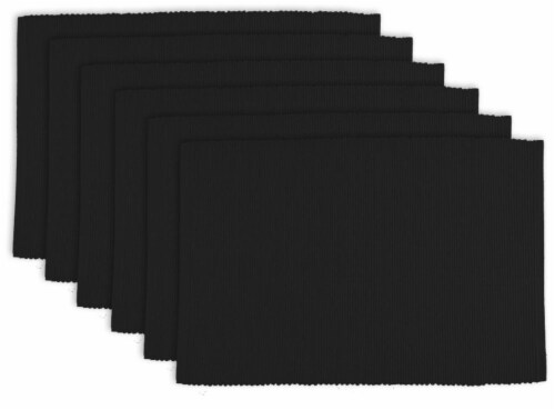 DII Black Ribbed Placemat (Set of 6) Perspective: front
