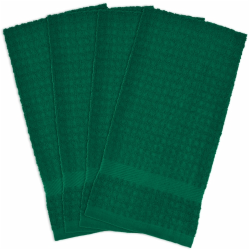DII Solid Dark Green Waffle Terry Dishtowel (Set of 4) Perspective: front