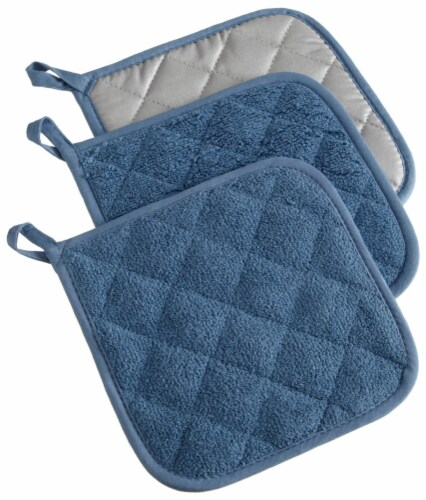 DII Blue Terry Potholder (Set of 3) Perspective: front