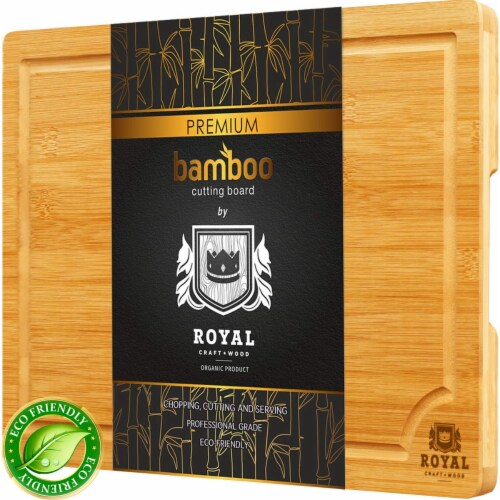 Small Bamboo Cutting Board for Kitchen with Handles & Juice Groove Perspective: front