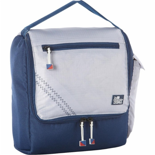 Sailor Bags Spinnaker Insulated Soft Lunch Box Grey with Blue Trim, Silver Perspective: front