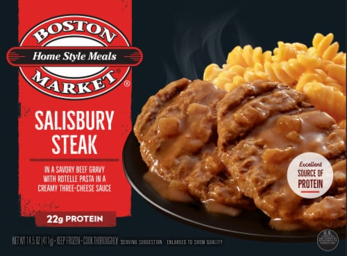Boston Market Home Style Meals Salisbury Steak Frozen Meal Perspective: front