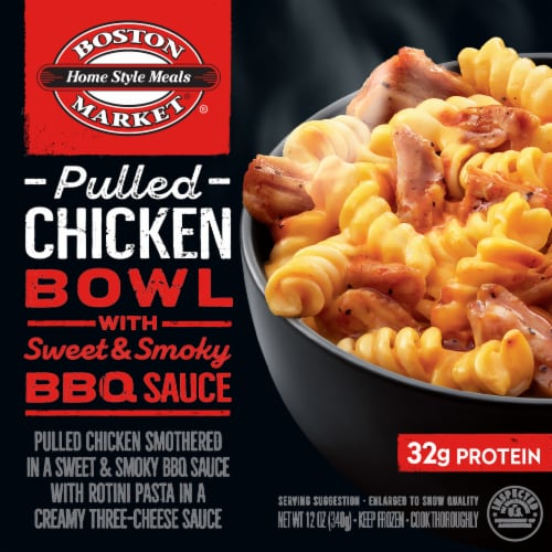 Boston Market Pulled Chicken Bowl with Sweet & Smoky BBQ Sauce Frozen Meal Perspective: front