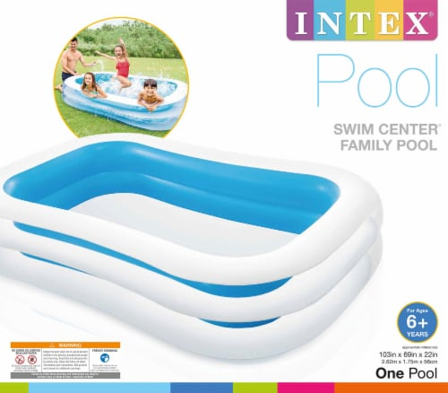 Intex 8.5ft x 5.75ft x 22in 198 Gallon Inflatable Family Swimming Pool, Blue Perspective: front
