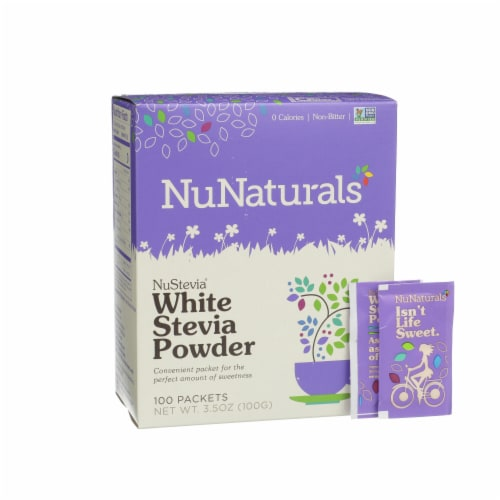 NuNaturals NuStevia White Stevia Powder Packets Perspective: front