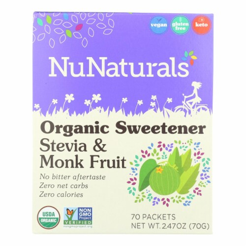 Nunaturals - Stevia And Monk Fruit - 1 Each - 70 CT Perspective: front