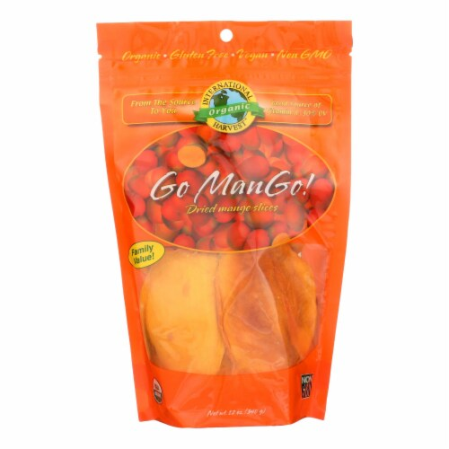 International Harvest Go Mango! Dried Mango Slices  - Case of 6 - 12 OZ Perspective: front