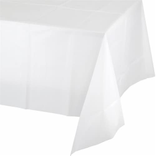 Group  54 x 108 in. White Plastic Tablecover, Pack of 12 Perspective: front