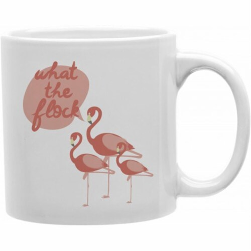 The Flock Flamingos Ceramic Coffee Mug Perspective: front