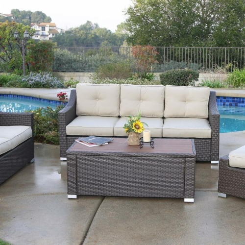 5 Piece South Beach Wicker Patio Luxury Deep Seating Group with Cushion Perspective: front