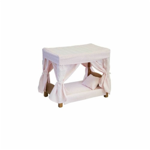 Wooden Doll Canopy Bed, Harvest Perspective: front