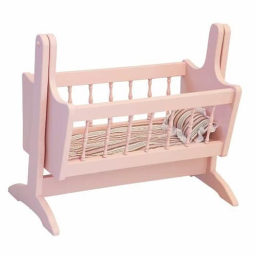 Wooden Doll Swinging Cradle, Pink Perspective: front
