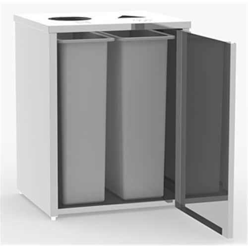 Waste And Recyling Stations Stainless Steel Perspective: front