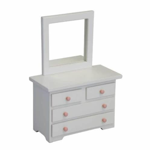 Wooden Doll Mirror Dresser, White Perspective: front