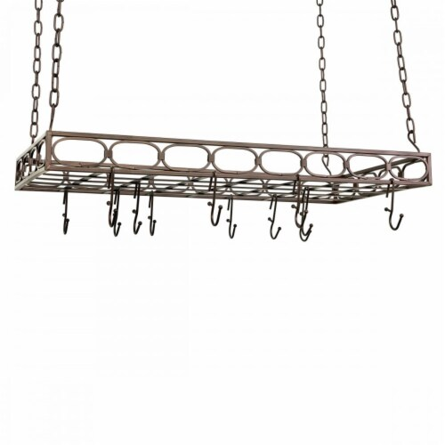 Rectangular Pot Rack with 16 Hooks, Oiled Bronze Perspective: front