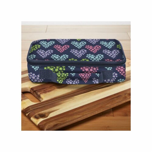 Heart Print Bento Lunch Box Set with Insulated Carry Bag, Blue Perspective: front