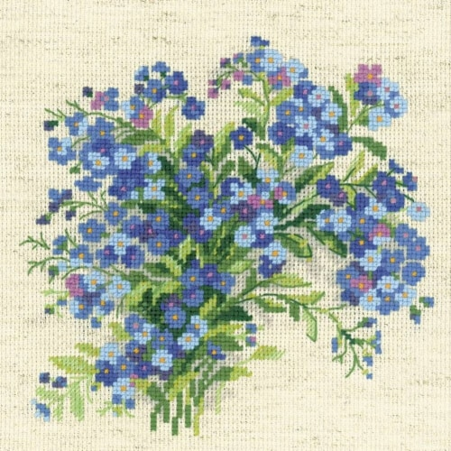 8 x 8 in. Forget Me Nots Counted Cross Stitch Perspective: front
