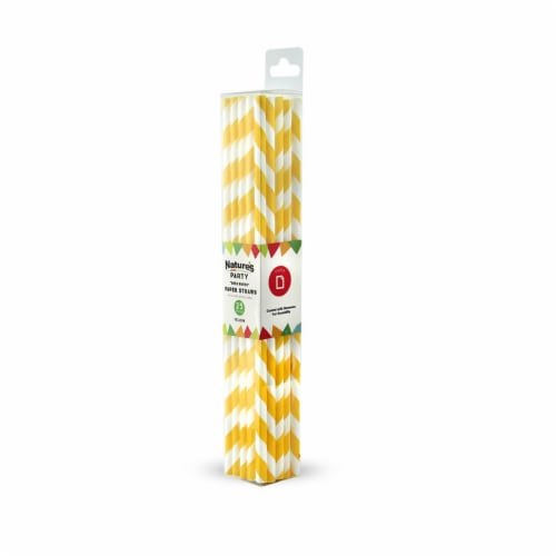 8 in. Paper Straw Coated with Beeswax, Yellow Perspective: front