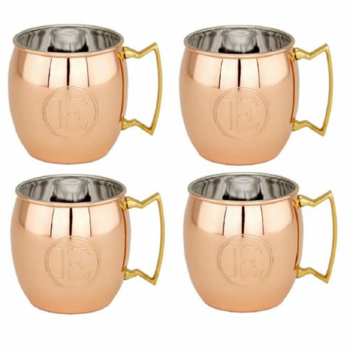 16 oz Monogrammed E Moscow Mule Mugs - Solid Copper  Set of 4 Perspective: front