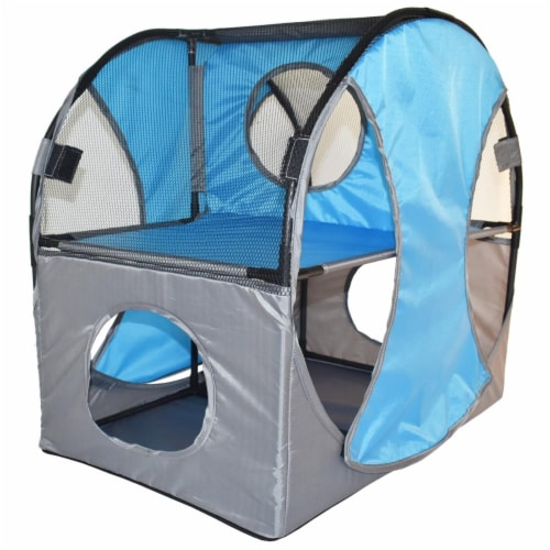 Kitty Play Pet Cat House, Blue & Grey - One Size Perspective: front