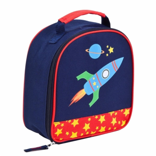 Sky Blue & Red Boys Rocket Lunchbox Perspective: front