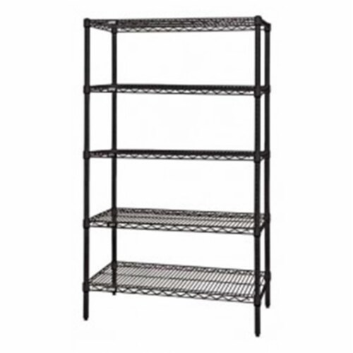 Wire 5 Shelf Starter Kit, Black - 74 in. Perspective: front
