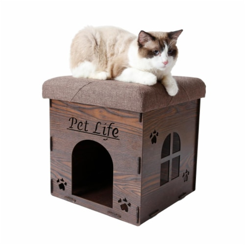Foldaway Collapsible Designer Cat House Furniture Bench, Dark Wood - One Size Perspective: front