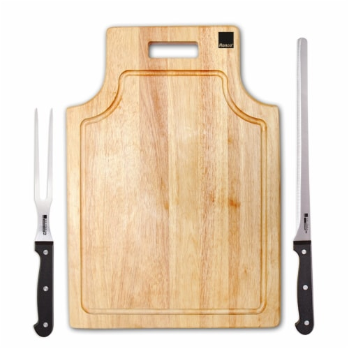 Ronco Carving Board Set, With Drip Catch Stainless Steel Carving Knife and Fork Perspective: front