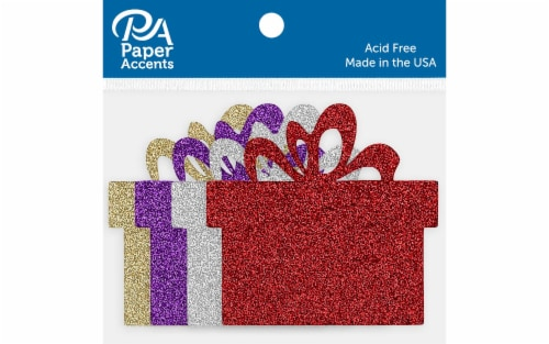 Glitter Shape 8pc Present Red,Silver,Lt Gold,Grape Perspective: front