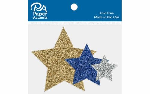 Glitter Shape 15pc Stars Gld,Silvr,Jewel AstdSizes Perspective: front